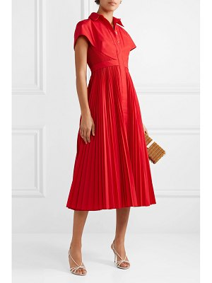Brandon Maxwell cape-effect pleated poplin midi dress