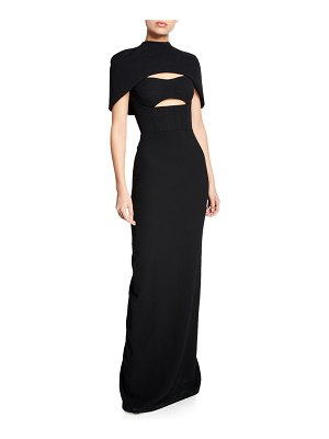 Brandon Maxwell Cape-Sleeve Bustier Cutout Gown