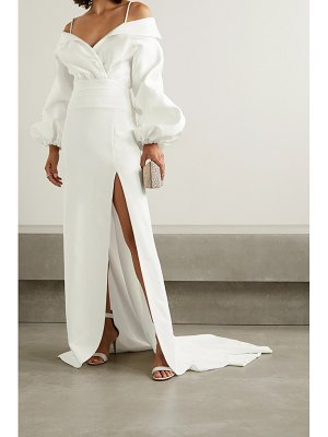Brandon Maxwell cold-shoulder twill and crepe gown