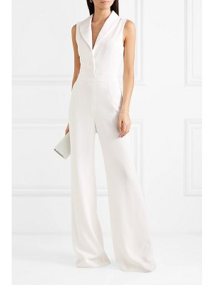 Brandon Maxwell faille-trimmed silk crepe de chine jumpsuit