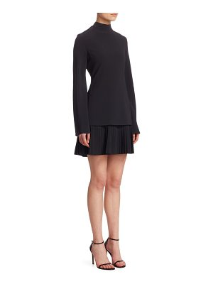 Brandon Maxwell flare-sleeve pleated hem dress