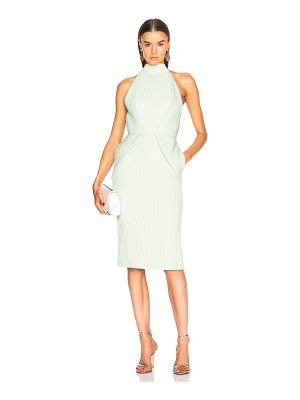 Brandon Maxwell Fold-Over Backless Pintucked Cocktail Dress