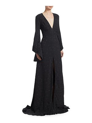 Brandon Maxwell jacquard flare-sleeve gown