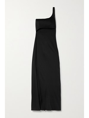 Brandon Maxwell one-shoulder cutout ribbed jersey gown