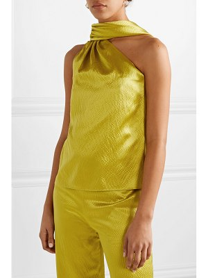 Brandon Maxwell one-shoulder hammered silk-satin blouse