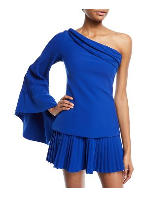 Brandon Maxwell One-Shoulder Pintucked-Sleeve Crepe Statement Top