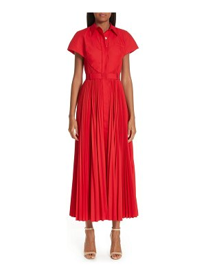 Brandon Maxwell button front pleated shirtdress