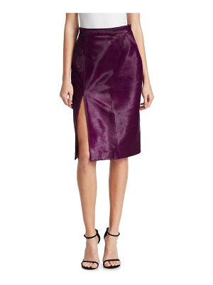 Brandon Maxwell Pony Hair Pencil Skirt