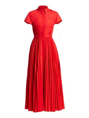 Brandon Maxwell poplin pleated shirtdress