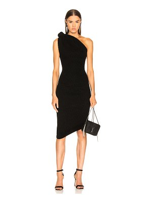 Brandon Maxwell Rib Knit Knot Shoulder Mini Dress