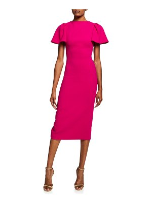 Brandon Maxwell Ruffle-Sleeve Wool Midi Cocktail Dress