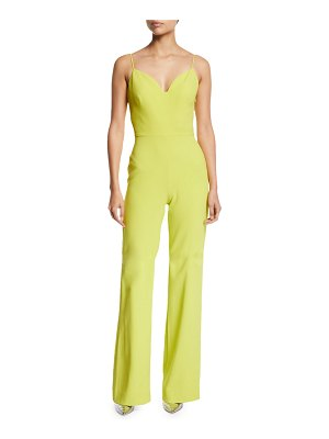 Brandon Maxwell Sweetheart-Neck Cami-Strap Stretch-Crepe Flared-Leg Jumpsuit