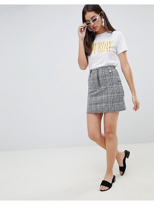 Brave Soul adore check skirt with zip detail