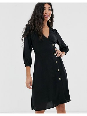 Brave Soul ahana wrap dress with button throuh detail-black