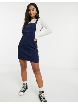 Brave Soul alexa cord pinafore overall dress-navy