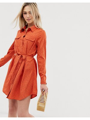 Brave Soul alexia shirt dress in heart print-brown