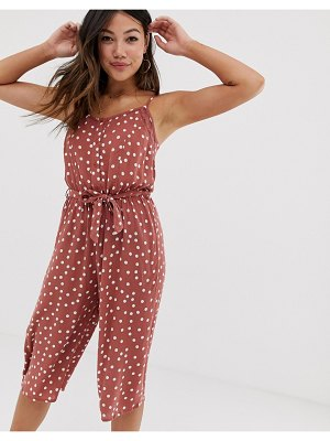 Brave Soul antonia button down jumpsuit in polka dot-pink