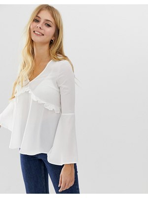 Brave Soul bell sleeve blouse with ruffle detail in off white