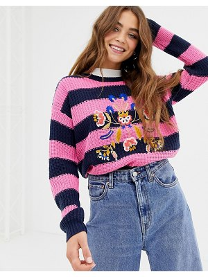 Brave Soul bouquet stripe sweater with embroidery