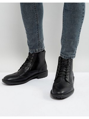Brave Soul brogue boots in black