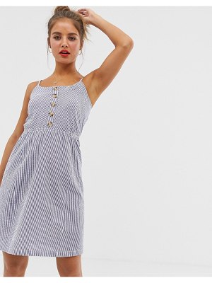 Brave Soul button up cami dress in stripe-white