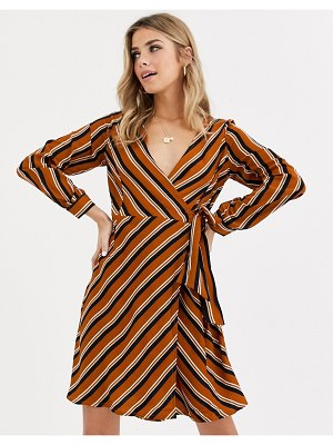 Brave Soul cairo wrap dress in stripe-multi