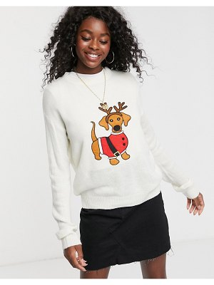 Brave Soul christmas sweater with daschund applique-cream