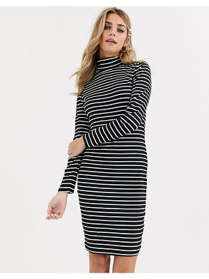 Brave Soul drian roll neck rib dress in stripe-black