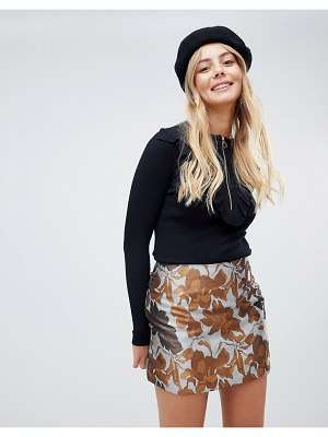Brave Soul floral skirt in brocade