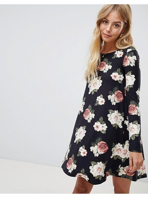 Brave Soul Florence Long Sleeve Swing Dress in Floral Print