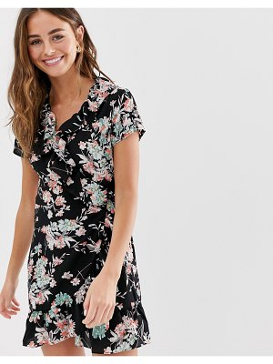 Brave Soul frill wrap mini dress in black floral