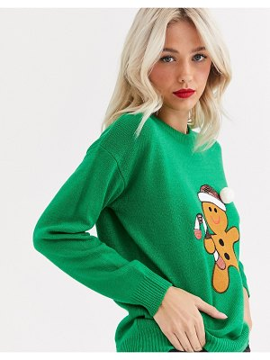 Brave Soul gingerbread christmas sweater with sequin detail-green
