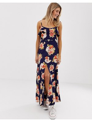 Brave Soul katrina maxi dress in large flroal print-black