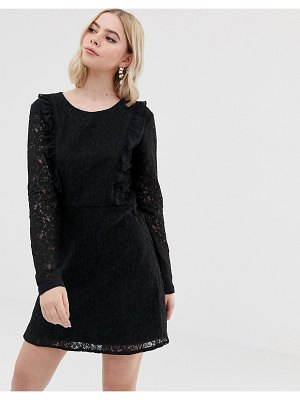 Brave Soul lace overlay long sleeve mini dress-black