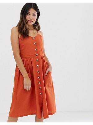 Brave Soul leah button through midi dress-red