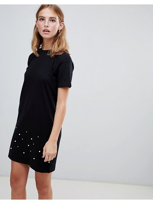 Brave Soul madge t shirt dress with pearl trim