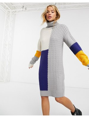 Brave Soul matata sweater dress in patchwork cable-gray