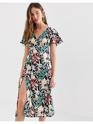 Brave Soul midi dress with thigh split in black floral