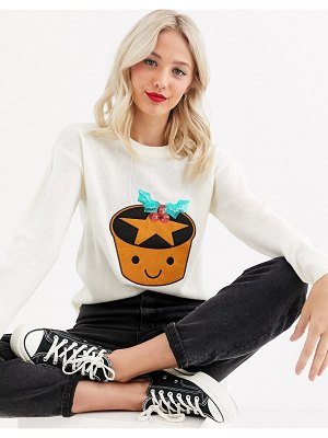 Brave Soul mince pie christmas sweater with sequin detail-cream