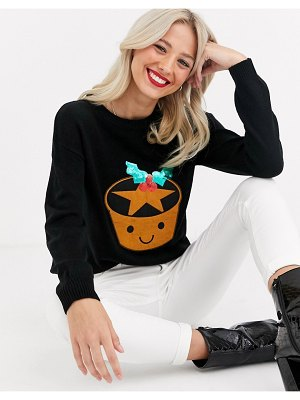 Brave Soul mince pie christmas sweater with sequin detail-black