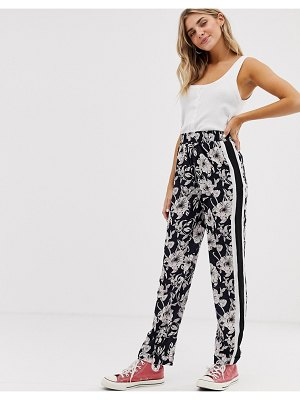 Brave Soul monochrome floral pants with side stripe