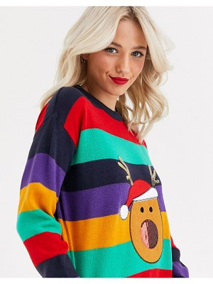 Brave Soul reindeer christmas sweater in stripe with sequin detail-multi