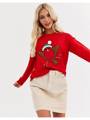 Brave Soul robin christmas sweater with pom pom-red