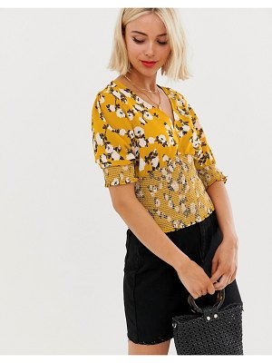 Brave Soul shirred detail top in floral print