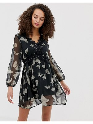 Brave Soul skater dress with lace trim in butterfly print