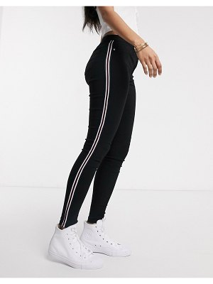 Brave Soul skinny jeans with stripe in black