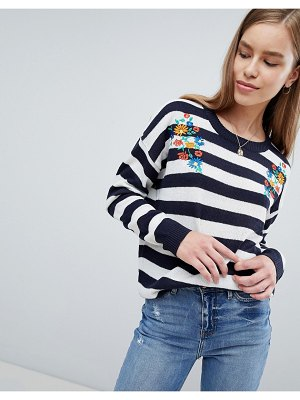Brave Soul striped sweater with floral embroidery
