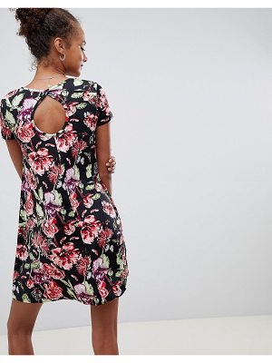 Brave Soul Swing Dress with Keyhole Back in Dark Floral Print