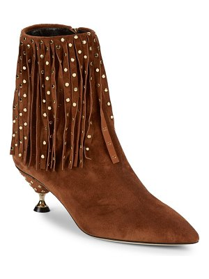Brian Atwood Cameron Fringe Suede Ankle Boots