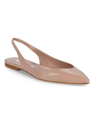Brian Atwood Point-Toe Leather Slingback Flats